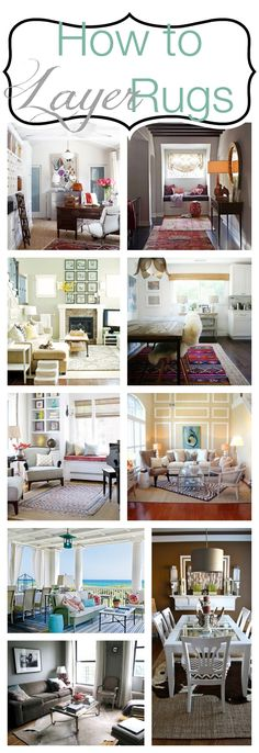 How to layer rugs. Really like having a huge plain rug with a pop of colour or pattern on the top!