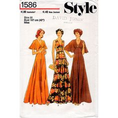 1970s Maxi Evening Dress Pattern Style 1586 Vintage Sewing Pattern V Neck Dress Optional Capelet Flutter Sleeves Plus Size Bust 42 FF Unused