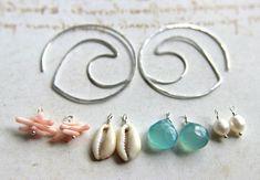 Interchangeable Silver Hoop Earrings, Beach Hoop Earrings, Mix and Match Dangles, Peach Aqua Interchangeable Charms, Boho Beach Hoops. $38.00, via Etsy.