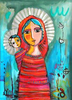 Claudia Talavera Artworks: pintura religiosa, interpretaciones Catholic Art, Religious Art, Madonna, Holy Art, Virgin Mary Art, Christian Artwork, Cross Art, Spirited Art, Southwest Art