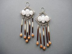 Rain Dancer- Tribal Chandelier Assemblage Earrings with Porcupine Quills, Quartz, Beads, and Chain