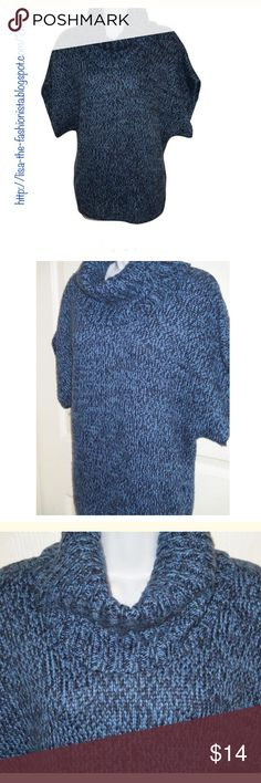 AK JEANS Anne Klein Navy Black S/S Cowl Neck XL Gorgeous short sleeve cowl neck sweater done in navy blue marled. Dolman Sleeve length is 26 inches Anne Klein Sweaters Cowl & Turtlenecks