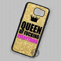 Gold Glitter Crown Queen of Fucking - Samsung Galaxy S7 S6 S5 Note 7 Cases & Covers