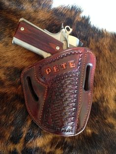Pancake Holster - With Contrasted Name and Basket Stamping, Rich Brown Dye