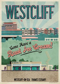 Westcliff on Sea Poster by Neil Fendell Posters Uk, Railway Posters, Art Deco Posters, Poster Prints, Movie Posters, Tourism Poster, Uk Tourism, Leigh On Sea, Beautiful Posters