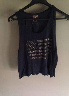 À vendre sur #vintedfrance ! http://www.vinted.fr/mode-femmes/debardeurs/26660644-debardeur-crop-top-bleu-drapeau-usa