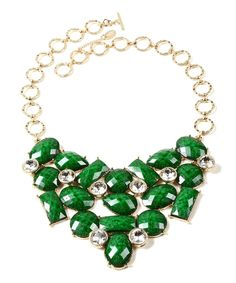 Take a look at this Evergreen & Austrian Crystal East Hampton Bib Necklace today!