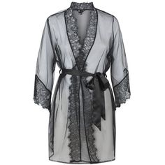 Ann Summers Serena robe ($43) ❤ liked on Polyvore featuring intimates, robes, lingerie, black, women, floral dressing gown, bath robes, dressing gown, floral lingerie and ann summers lingerie