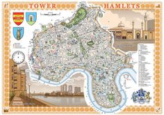 London Borough of Tower Hamlets illustrated map print. via Etsy. London Map, Tower Of London, East London, London Mosque, London Boroughs, Roman Roads, Tower Hamlets, Isle Of Dogs, County Map