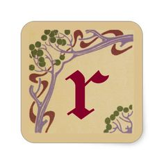 Lower Case Letter r Art Nouveau Stickers by Janz