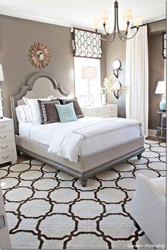 master bedroom roman shade and drape