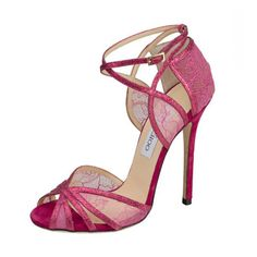 """Jimmy Choo """"Fitch"""" Glitter and Lace Sandal in Pink"""