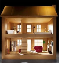 Cardboard Dollhouse Slinks: (slingks) Surreptitious web links to other good sites Cardboard Dollhouse, Cardboard Crafts, Diy Dollhouse, Homemade Dollhouse, Miniature Houses, Miniature Dolls, Doll Furniture, Dollhouse Furniture, Barbie Doll House