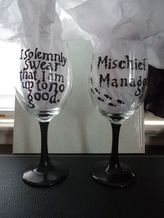 Harry Potter Wine Glasses by HalfClayMoon on Etsy, $22.00
