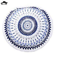 "Cotton Round Beach Towel Fringe Tassels Yarn Dye Boho Gypsy Cotton Tablecloth Picnic Towel Tablecloth 59"" Round Yoga Mat"