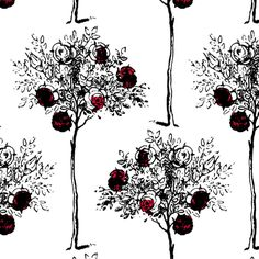 White to Red - pond_ripple - Spoonflower. Rose tree from Alice's Adventure in Wonderland, fabric.
