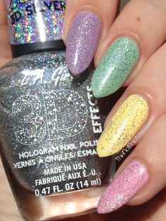The Nailinator - Chic Pastel Collection with holo Creative Nails, The Chic, Fingers, Nail Art Designs, My Nails, Nail Polish, Pastel, Hair, Collection