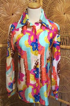 Vintage 1970s Quiana Blouse-Lady Arrow Brand-Wild Psychedelic Print Disco Shirt