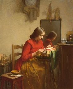 AN INTERIOR WITH A GIRL MAKING LACE   By Leon Delachaux