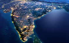 Download wallpapers India, continent, view from space, Earth, planet, India from space