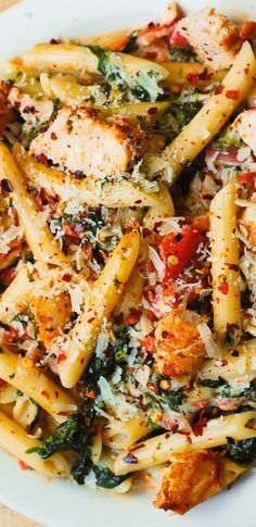 Chicken and Bacon Pasta with Spinach and Tomatoes in Garlic Cream Sauce- replace noodles with zoodles or spag squash
