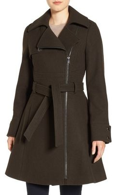 Catherine Catherine Malandrino Water Resistant Fit & Flare Coat