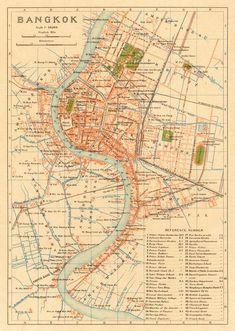 Map of Bangkok, Thailand, 1920 #map #bangkok #thailand