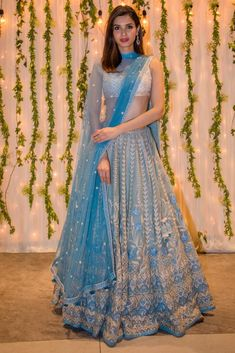 Sky Blue Anita Dongre lehenga. Click on picture to see lehenga price. #Frugal2Fab