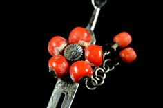 Antique coral kanzashi | Japanese coral kanzashi Antique |  coral  Antique kanzashi  | Japanese kanzashi coral by JapaVintage on Etsy