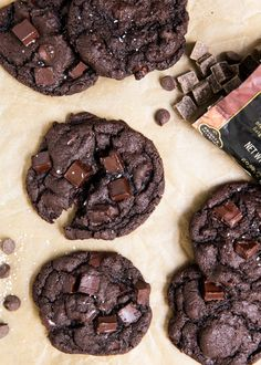 Soft and chewy triple chocolate chunk cookies. Made with semi-sweet chips, chocolate chunks and cocoa powder. A chocolate lovers dream cookie!