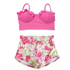 Pink Midkini Top and Flora High Waist Waisted Bikini Bikinis set sets... ($40) ❤ liked on Polyvore featuring swimwear, bathing suits, swimsuit, under, swimming costume, retro swim suit, high waisted bikini swimwear, high-waisted bathing suits and swim wear