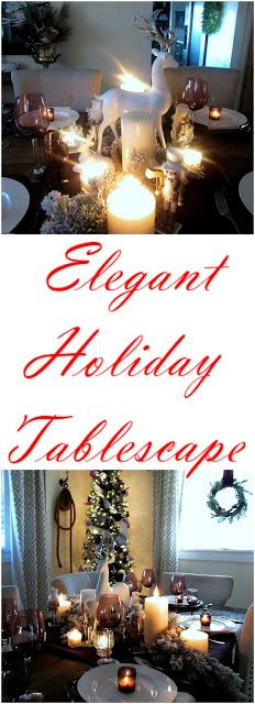 Holiday Tablescape and Elegant Christmas Centerpiece Elegant Christmas Centerpieces, Holiday Tablescape, Christmas Tablescapes, Christmas And New Year, Originals, Rustic, Table Decorations, Home Decor, Christmas Tables