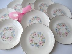 Lovely Vintage Pink Blue Floral Bread and Butter by jenscloset