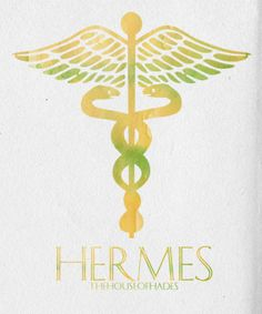 """thehouseofhades:    """"My dear young cousin, if there's one thing I've learned over the eons, it's that you can't give up on your family, no matter how tempting they make it.""""   Minimalist Poster: The Olympians 3/12: Hermes  God of Messengers, Travelers, and Thieves; Symbol: The Caduceus  (x)(Ω)(x)"""