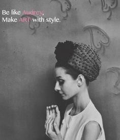 """Be like Audrey, make Art with style. . Use code """"may10"""" to receive 10% off exquisite replicas inspired by Audrey Hepburn on utopiat.com"""