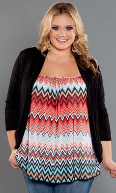 Curvalicious Clothes :: Plus Size Tops :: Pretty Cami Chevron Print