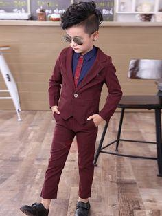 Solid Color Boys Dress Suit Set