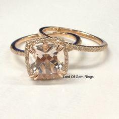 $798 Wedding Ring Sets,Morganite with Diamonds 14K Rose Gold,8mm Cushion Cut,Prong #LOGR
