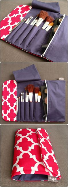 Makeup Travel Bag. Compact Brush Roll & Makeup Case in Pink. Cosmetic Pouch with Brush Holder. Travel Gift Idea for Women. Weekend Bag