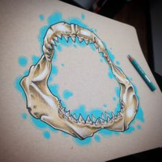 Some jaws for an upcoming around the kneecap tattoo for my homie @jciardiello…
