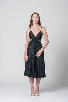 Black evening midi dress  side slits engagement dress  open
