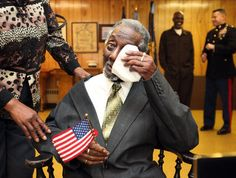 Lenel Moore wipes tears away after he is awarded the Congressional Gold Medal at the VFW Post No. 943 in Ashtabula, Ohio. Congress authorized these gold medals for the Montford Marines, the first African-American Marines. Military Love, Military Service, Congressional Gold Medal, Black Families, African Diaspora, Ashtabula Ohio, Civil Rights, Black People, Armed Forces