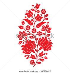 Hungarian red folk pattern - Kalocsai embroidery with flowers and paprika  - stock vector