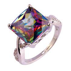 Haute Qualité Rainbow /& White Topaz CITRINE GEMSTONE SILVER RING Sz 6 7 8 9 10 11