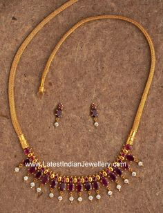 Simple Designer Ruby Gold Necklace