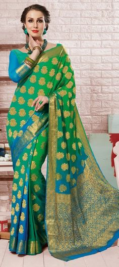 711485 Blue, Green  color family Printed Sarees, Silk Sarees in Crepe, Silk fabric with Printed, Thread work   with matching unstitched blouse.