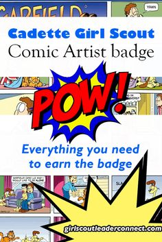 Everything You Need to Earn the Cadette Girl Scout Comic Artist Badge Girl Scout Leader, Girl Scout Troop, Girl Scouts, Cadette Girl Scout Badges, Cadette Badges, Scout Mom, Daisy Scouts, Girl Scout Activities, Fun Activities