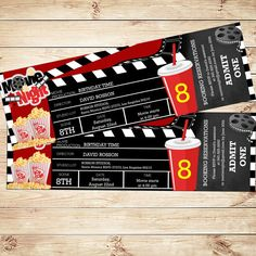 Movie ticket birthday invitation movie by DIYPartyInvitation Movie Party Invitations, Ticket Invitation, Printable Birthday Invitations, Invite, Movies For Boys, 22nd Birthday, Movie Tickets, Family Night, About Time Movie