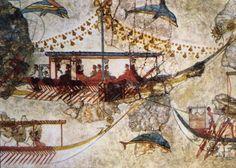 Minoici commercianti: pittura murale da Acrotiri a Thera (Santorini) che mostra le navi Minoan.  Età del Bronzo (3200-1050 aC).  Lo scambio di prodotti con i paesi lontani è stato servito dal trasporto ben organizzato e la fondazione di stazioni commerciali nei porti importanti del Mediterraneo.