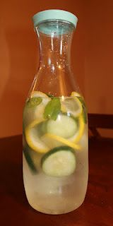 yummy water to help boost weight loss. Ingredients: 2L water, 1 medium cucumber, 1 lemon,    10-12 mint leaves.   Steep overnight in fridge and drink every day!